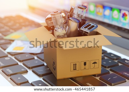 E-commerce, online shopping, internet purchases and goods delivery concept, cardboard box package with household and kitchen appliances on computer laptop keyboard, 3d illustration