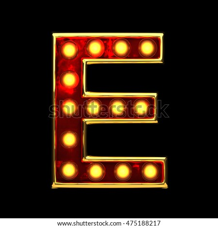 e isolated golden letter with lights on black. 3d illustration