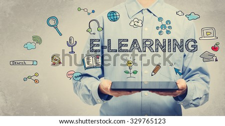 E-learning concept with young man holding a tablet computer