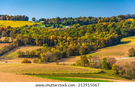 Early-autumn view of rolling hills in rural York County, Pennsylvania.