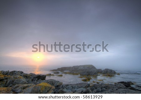 Early morning fog along the Atlantic coastline.
