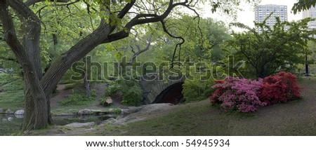 Early morning under the Gapstow bridge in Central Park, New York City