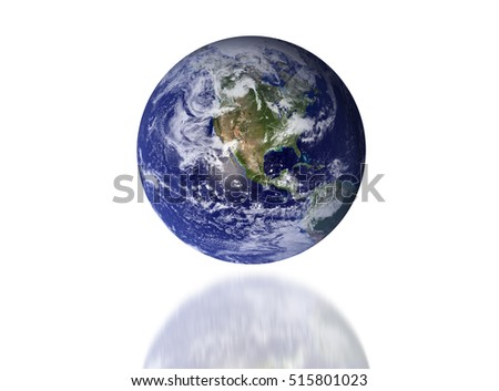 Earth - America - Elements of this image furnished by NASA.isolate on white background.earth and shadow earth.