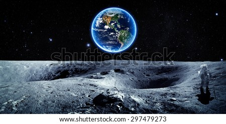 Earth and Moon - Elements of this Image Furnished by NASA