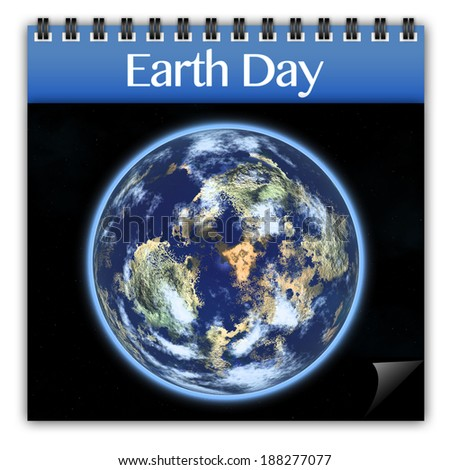 Earth day on calendar isolated on white
