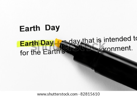 Earth Day text highlighted in yellow, under the same heading
