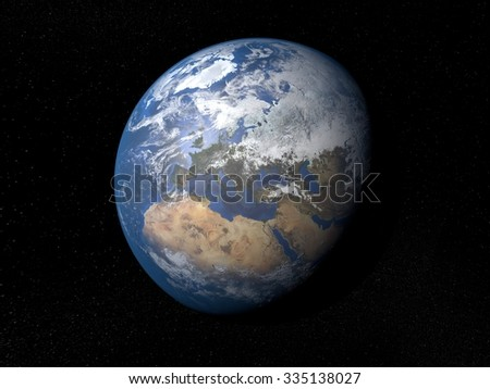 Earth from space Europe. Planet Earth in space with stars on the background.