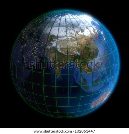 Earth Globe Asia-  Latitude and Longitude. 3d Render using NASA texture maps.