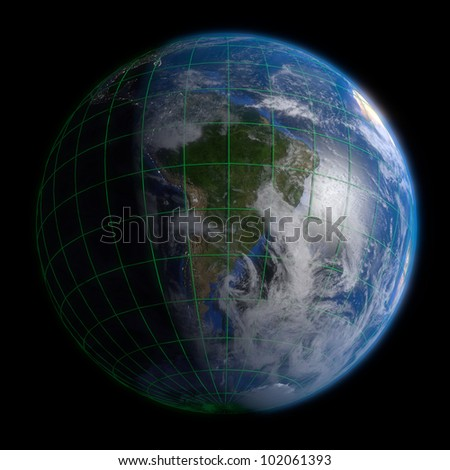 Earth Globe South America - Clouds and Lines. 3d Render using NASA texture maps.