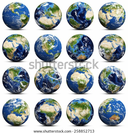 Earth icons set. Elements of this image furnished by NASA