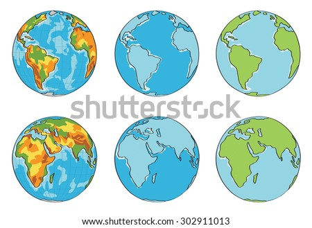 Earth illustration with different colors