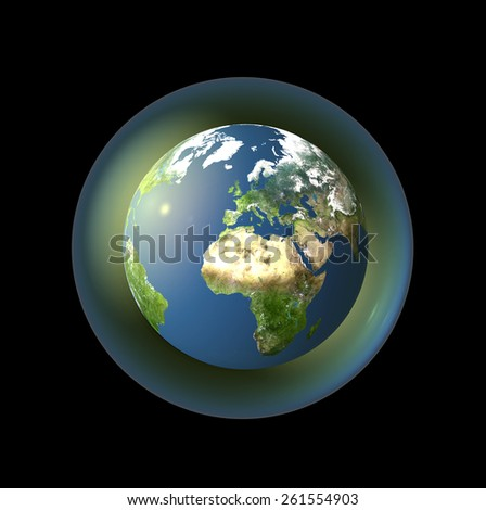 earth in a bubble including elements furnished by NASA.