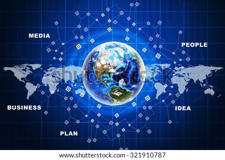 Earth in circles with world map on abstract blue background with world map. Elements of this image furnished by NASA