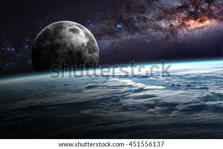 Earth, moon and star. Elements of this image furnished by NASA