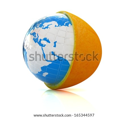 Earth on orange fruit on white background. Creative conceptual image.