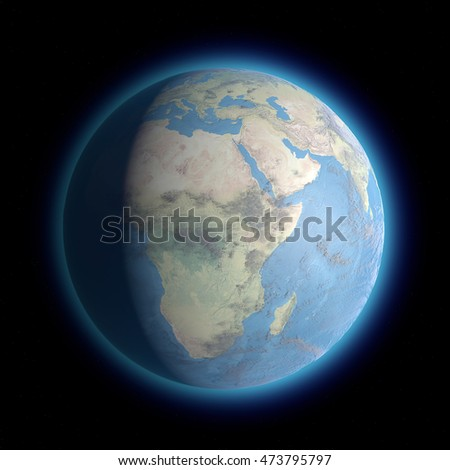 Earth standing on dark space. Africa, space view. 3d rendering. Element of this image are furnished by NASA