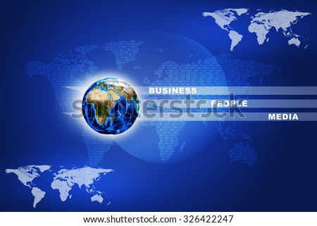 Earth with words on abstract blue background with world map. Elements of this image furnished by NASA