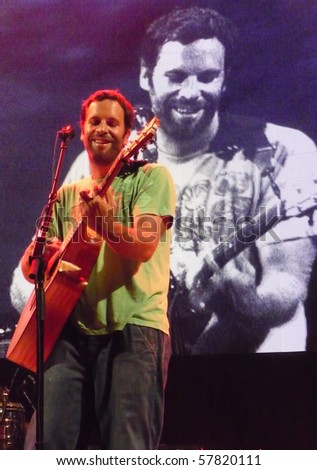 EAST TROY, WI - JUL. 24: Jack Johnson performs during their 2010 To The Sea tour in East Troy, Wisconsin at Alpine Valley Music Theater on July 24, 2010 in East Troy, MI.