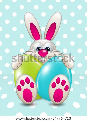 easter bunny holding colored eggs over light blue