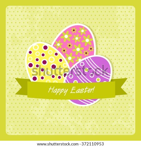 Easter card with easter eggs and spring flowers
