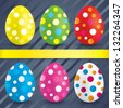 Easter colorful textured eggs (collection). Set of painted eggs (decoration). Circles on eggs (icons). - stock vector