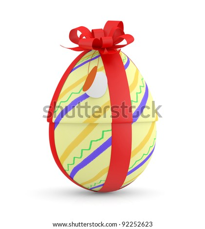 Easter Egg with red ribbon. 3D model