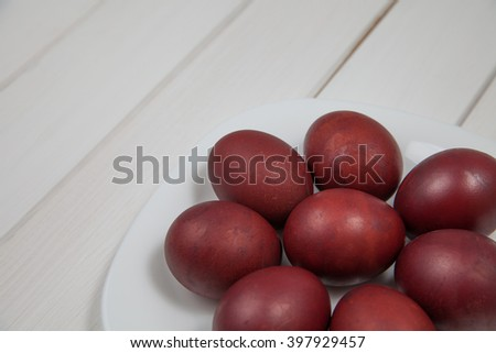 Easter eggs in a plate on the table