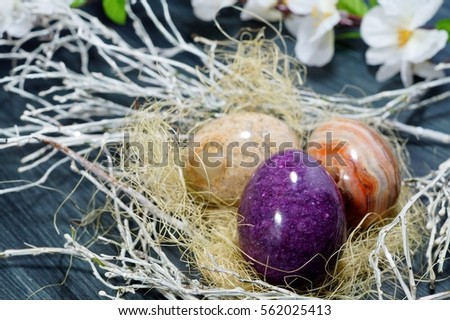Easter eggs on a grey background - Easter decoration