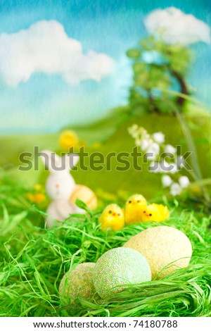 Easter setting with  chicks, tree and sky