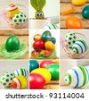 Easter theme or collage.Colorful easter eggs and bunny - stock photo