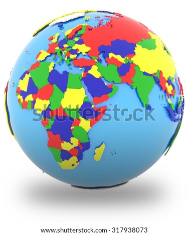 Eastern Hemisphere, political map of the world with countries in four colours, isolated on white background.
