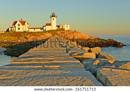Eastern Point Lighthouse at sunset, Gloucester, Massachusetts, USA