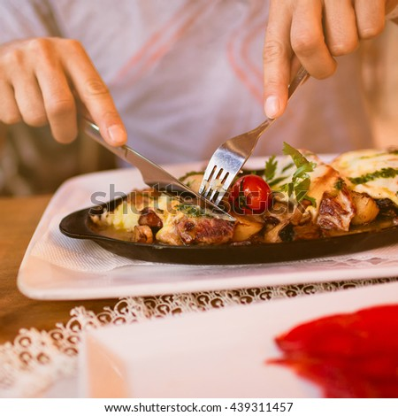 Womans hand knife cut pizza stock photo 164639465 for Food bar hands
