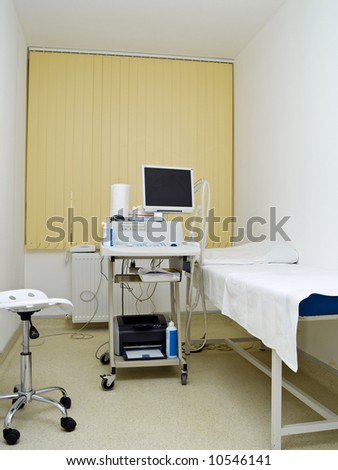 echography bed in gynecology hospital room clinic