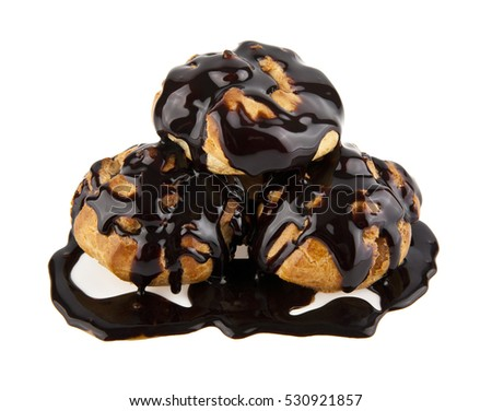 eclairs in a chocolate on a white background