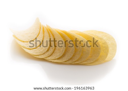 Eco potato chips on a white background. Studio photography.