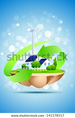 Ecology Concept Background with House and Wind Power Station