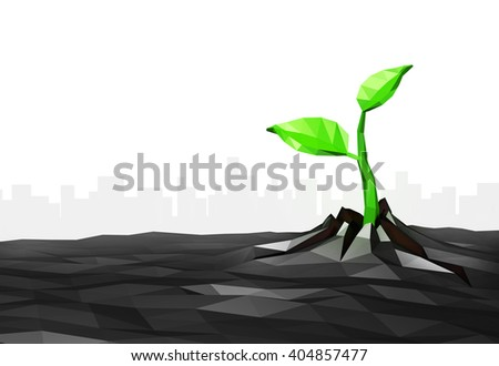 Ecology concept, sprout has grows through the asphalt in the city, low poly urban background, isolated on white, 3D illustration