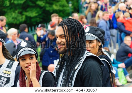 EDINBURGH, SCOTLAND - JULY 17, 2016: Performers in the Carnival of The Edinburgh Jazz and Blues Festival