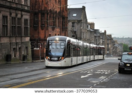 EDINBURGH, SCOTLAND - MAY 31. The new Edinburgh tram system linking the airport with York Place opened on May 31, 2014 in Edinburgh, Scotland