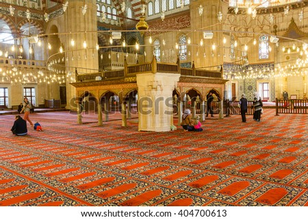 EDIRNE, TURKEY - APRIL 28, 2015: people in interior of Selimiye Mosque