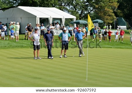 EDISON,NJ-AUGUST 26:Golfers Brian Davis(L) and Robert Allenby(R) at the 9th hole during the Barclays Tournament held at the Plainfield Country Club on August 26,2011 in Edison,N.J.