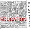 Education and learning concept in tag cloud on white background - stock vector