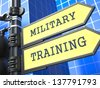 Education Concept. Military Training Roadsign on Blue Background. - stock vector