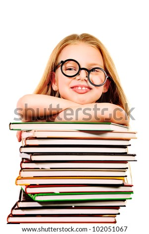 Education - funny girl with books. Isolated over white background.