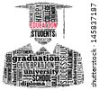 Education info-text graphic and arrangement concept on white background (word cloud) - stock