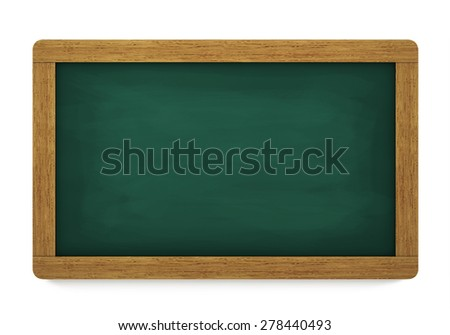 Education, training and school blank wooden blackboard or chalkboard with empty space for your copy on white background.