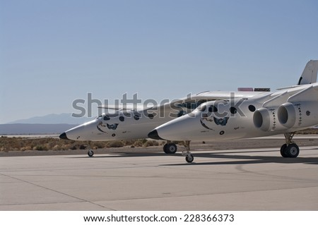 EDWARDS AFB, CA/USA - OCTOBER 17: Scaled Composites White Knight Two taxing at Flight Test Nation 2009 is shown on October 17, 2009 at Edwards Air Force Base, CA/USA.