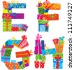 EFGH - english alphabet - letters are made of gift boxes and presents. Raster version - stock photo