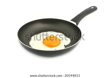 egg in pan isolated on white